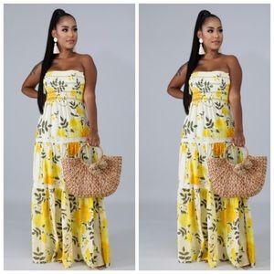 Beautiful yellow strapless sundress